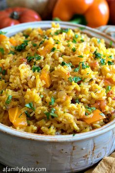 Spanish Rice - A simple and delicious side dish for any meal. This recipe gets fantastic flavor and color from saffron and other traditional ingredients.
