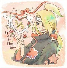 Happy Birthday Deidara, cute, Sasori, Deidara, chibi, Akatsuki, text; Naruto