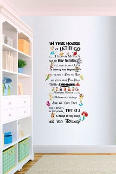 In This House We Do Disney Style Quote Rules Vinyl Wall Art Nursery Sticker - Vinyl wall art nursery, Disney wall art, Disney room decor, Nursery stickers, Disney home deco - Disney Diy, Casa Disney, Deco Disney, Disney Home Decor, Disney House, Disney Ideas, Disney Room Decorations, Disney Mickey, Wall Stickers Princess