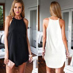 Womens-Sexy-Summer-Sleeveless-Casual-Evening-Party-Beach-Dress-Short-Mini-Dress