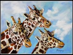 Wildlife Art International: Neck and Neck...Pastel on velour paper..Texas Artist..Rae Andrews