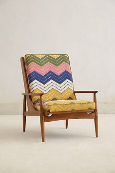 Hanne Chevron Armchair - Anthropologie  hack it...find midcentury frame, recover the cushions!