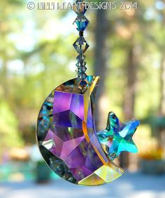 Fine Crystal Moon and Stars Suncatcher 40mm by LilliHeartDesigns