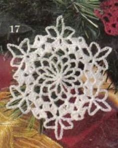 Free crochet pattern for a EXCELLENT SITE white snowflake Christmas Tree ornament. I add a little watered down white glue on one side then sprinkle clear diamond dust or mica flakes on. Crochet Christmas Ornaments, Christmas Crochet Patterns, Holiday Crochet, Christmas Snowflakes, Christmas Crafts, Christmas Tree, Snowflake Ornaments, Christmas Bells, Christmas Angels
