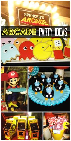 Video game arcade is the fun theme of this boy birthday party!  See more party ideas at CatchMyParty.com!
