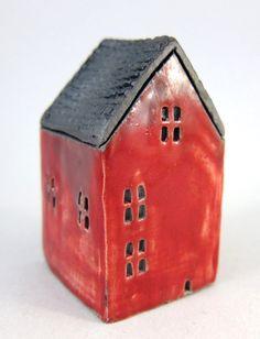 Red Cottage...Raku Fired Miniature House by elukka on Etsy