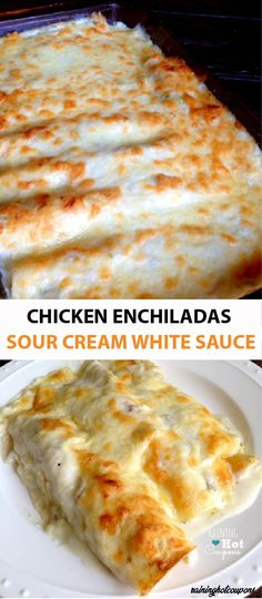 Recipes With Rotisserie Chicken Sourcream Chicken Enchiladas, White Sauce Enchiladas, White Chicken Enchiladas, Rotisserie Chicken Enchiladas, Healthy Chicken Enchiladas, Sour Cream Chicken, Sour Cream Sauce, Chicken Recipes Using Sour Cream, Sour Cream Enchilada Sauce