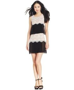 Jessica Simpson Tiered Chiffon Lace Dress | macys.com