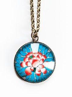 Aqua & red pendant