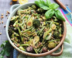 Balsamic Roasted Green Vegetables is a delicious medley of caramelized Brussel sprouts, green beans, broccoli, and asparagus! Potato Gnocchi Recipe, Sweet Potato Gnocchi, Gnocchi Recipes, Potluck Recipes, Side Dish Recipes, Whole Food Recipes, Healthy Recipes, Free Recipes, Gluten Free Sides Dishes