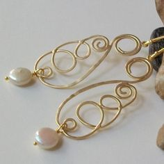 Pearl Dangle Earrings Gold and Coin Pearl by PeriniDesigns on Etsy, $32.00