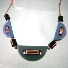 Slender Jakob Bengel Galalith and Chrome Necklace in Teal and Green /Jakob Bengel pieces were never signed. This necklace has a clasp marked Platinin (a Deco era metal that was often used on European jewelry), clearly a replacement for the original /250