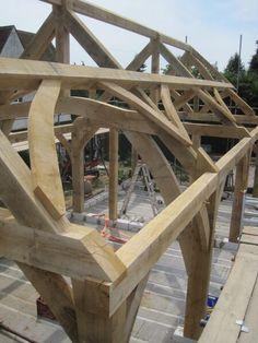raising Kent by Castle Ring Oak Frame Timber Roof, Timber Frame Homes, Timber Frames, Oak Framed Buildings, Timber Buildings, Pole Barn House Plans, Pole Barn Homes, Roof Design, House Design