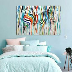 2016 Colourful Rainbow Zebra Animal Wall Art Handmade Oil Painting Canvas Prints Big Home Lliving Room Bedroom Decoration