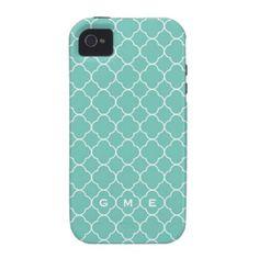 Quatrefoil clover pattern blue teal 3 monogram iPhone 4 covers