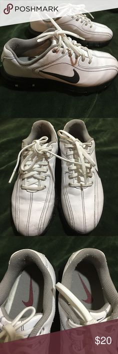 NIKE Revive Kids Leather Golf Shoe Great condition! Only worn a few times. Some piling on inside. Normal wear with mild scuffing and marks on outside. Very clean inside and out. Ready for a young golfer to enjoy! Nike Shoes