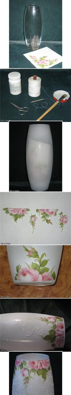 Декупаж - Сайт любителей декупажа - DCPG.RU | Ваза с ниточным узором decoupage art craft handmade home decor DIY do it yourself tutorial