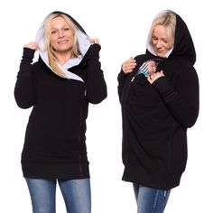 Baby carrier hoodie, 3in1, baby carrier coat, belly to baby jacket, nursing jumper, pregnancy, bamboo-sweatshirt material, black-gray, YONAS by VivalaMamaBerlin on Etsy https://www.etsy.com/listing/269917870/baby-carrier-hoodie-3in1-baby-carrier