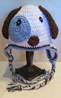 Puppy Love Crochet  Hat  Blue or Pink by fun2make on Etsy, $25.00