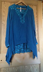 SHEEGO-Germany-Turquoise-Quirky-Lagenlook-Layered-TunicTop-Size-14-16