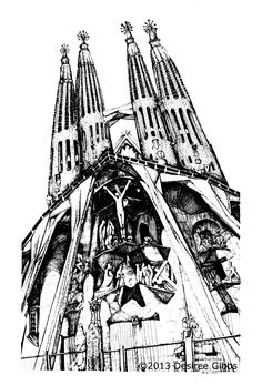 Free coloring page coloring-architecture-sagrada-familia-by-gauidi-in-barcelona. Drawing of the Sagrada familia by Gaudi in Barcelona