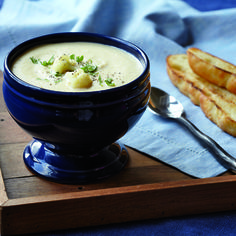If you have trouble convincing your kids to eat vegetables, try this cheesy, creamy soup with a side of toasted Panera Bread Sea Salt Focaccia for dipping. For adults, garnish with chopped fresh parsley.- Visit PaneraBread.com for more inspiration.