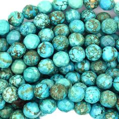 "Faceted Green Turquoise Round Beads Gemstone 15 5"" Strand 4mm 6mm 8mm 10mm 12mm 