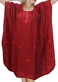 Women's Embroidered Swimwear Beach Dress Casual Caftan Red Plain US: 14 - 28 - Clothing, Lingerie, Sleep & Lounge, Sleep & Lounge, Nightgowns & Sleepshirts & Sleepshirts Caftan Dress, Kaftan, Maternity Swimwear, Womens Fashion Online, Fashion Women, Night Gown, Casual Dresses, Clothes For Women, Lounge