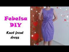 DIY twist knot front dress (version - Hướng dẫn may đầm xoắn eo Batik Fashion, Fashion Sewing, Apron Dress, Diy Dress, Wrap Dress, Front Knot Dress, Skirt Patterns Sewing, Apron Patterns, Dresses For Work