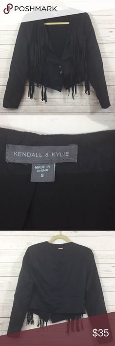 """Kendall & Kylie Fringe Suede Jacket Black Kendall and Kylie Fringe Button Down Jacket Shoulders 16"""" Total length 22"""" Sleeves 23.5"""" Bust 38"""" (with jacket closed) Exterior 100% polyester Lining 100% rayon Machine wash with like colors Made in China  PC90180 Kendall & Kylie Jackets & Coats Blazers"""