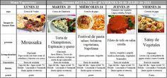 Menú Vegetariano del 22 al 26 de Julio de 2013