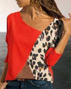 Women Long Sleeve Autumn Spring Blouse Blusas Plus Size Clothing Splicing Color Leopard Print Casual Shirt Easy Blouse Tops Plus Size Casual, Plus Size Outfits, Blouse Jaune, Tee Shirt Rouge, Blouses For Women, T Shirts For Women, Spring T Shirts, Leopard Print Top, Casual T Shirts