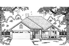 This ranch design floor plan is 1509 sq ft and has 3 bedrooms and has 2 bathrooms. Elevation Plan, Front Elevation, Traditional House Plans, Traditional Design, Ranch Exterior, Ranch Style Homes, Landscape Drawings, Traditional Bathroom, Square Feet