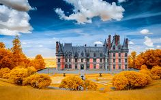 Download wallpapers Trevare Castle, autumn, old architecture, HDR, France