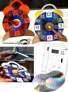 Alarm Clock: FINALLY something I would actually make with a throwaway cd!DIY Alarm Clock: FINALLY something I would actually make with a throwaway cd! Math For Kids, Diy For Kids, Activities For Kids, Crafts For Kids, Clock Craft, Diy Clock, Recycled Cds, Recycled Crafts, Cd Crafts