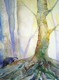 Original watercolour painting of badger and trees by Shari Hills by ShariHillsArt on Etsy