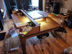 My Dad and I made a DnD table, it got out of hand. Gaming Table Diy, Gaming Room Setup, Gaming Furniture, Diy Furniture, Board Game Table, Game Tables, Dnd Table, Dragon Table, Game Room Basement