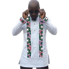 Clothing Type: Men Traditional Clothing Clothing Type: African Men's Shirts Type: Dashiki, Kitenge Material: Cotton, Polyester Style: African shirt CUSTOM MADE (5 Days): PLEASE PROVIDE YOUR WEIGHT, SHOULDERS, HIPS & HEIGHT MEASUREMENTS.