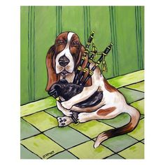 Basset Hound Playing the Bagpipes Dog Art Print. $17.99, via Etsy.
