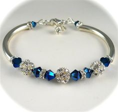 Fireball, Peacock Blue Bracelet, Swarovski Crystal Rhinestone Bracelet, Vintage Style Bangle, Sterling Silver, Bridal Wedding Jewelry