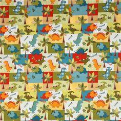 white patchwork dinosaur fabric for boys Michael Miller 2