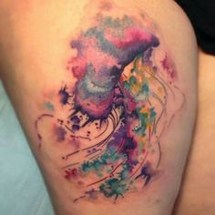 abstract jellyfish watercolor tattoo on thigh leg - spindrift