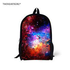 TWOHEARTSGIRL Cosmic Galaxy Designer Children School Bag Good Quality  Polyester Kid Schoolbag Teenager Casual Bookbag 16 3e4df4b717