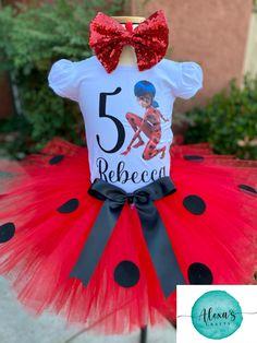 5th Birthday, Birthday Shirts, Birthday Ideas, Ladybug Tutu, Miraculous Ladybug Party, Bday Girl, Lady Bug, Party Ideas, Christmas Ornaments