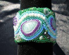Bead embroidered gemstone cuff bracelet. Aventurine and Jade jewellery, green and blue sea wave. Mediterranean mermaid. Valentines gift.