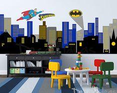 City Skyline Decal - Superman City Skyline wall Decal - Gotham City wall Decal - Batman Emblem Wall Decal- Printed Wall Decal Sticker