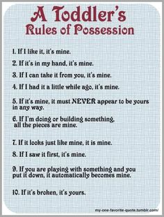 Toddler rules of ownership. So funny because it's so true. Toddler Rules, Toddler Humor, Funny Toddler, Kids Humor, Motherhood Funny, Quotes About Motherhood, Funny Jokes For Adults, Just For Laughs, Funny Photos