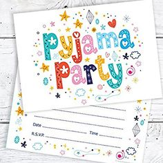 Pyjama Party Birthday Invitations - A6 Postcard Size with envelopes (Pack of 10)