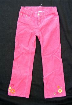 GYMBOREE Solid Pants, Pink Corduroy Flower embroidery Woodland Friends, Cotton 7 #Gymboree #CasualPants