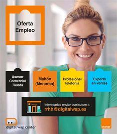 Oferta de #empleo: Se busca asesor/a comercial con experiencia en telefonía móvil para #Menorca ¡Únete a nuestro GRAN equipo! 💼👩💼👨💼#FelizMiercoles  #Jobs #JobSearch #Trabajo #TelefoniaMovil #Orange Menorca, Job Search, Digital, Ibiza, Teamwork, Fotografia, Ibiza Town